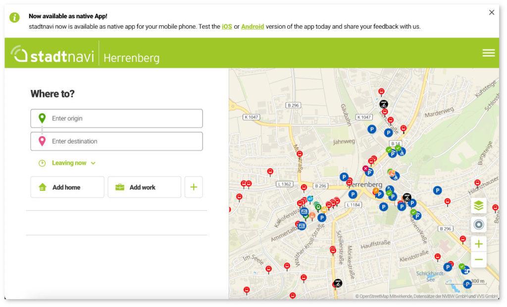 stadtnavi Web app